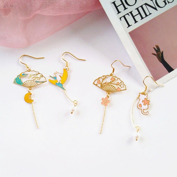 Japanese Style Harajuku Fan Tassel Earrings