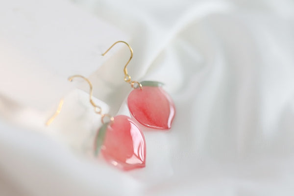 Sweet Peach Drop Earrings | Acrylic Pink Peach Cute Earrings for Women