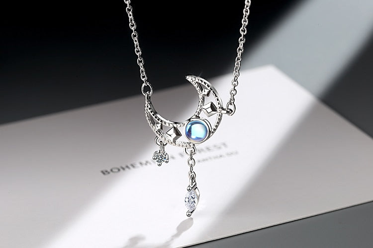 StarGazer™ Hollow Moon Dangle Necklace | Silver Moonstone Charm Necklace For Women
