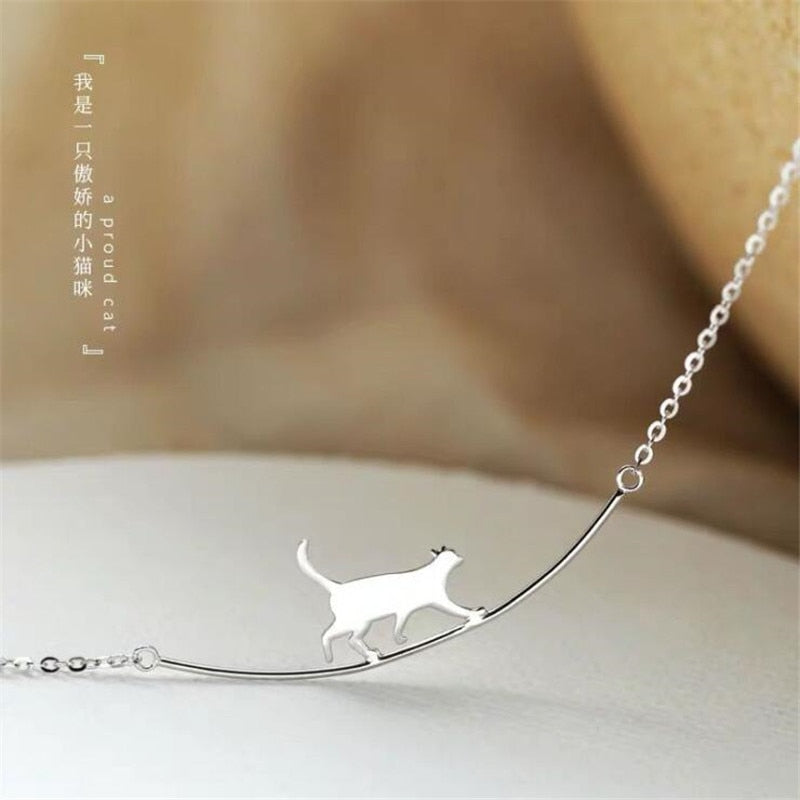 Cat Curved  925 Sterling Silver Jewelry Cute Animal Walking Cat Clavicle Chain Necklace
