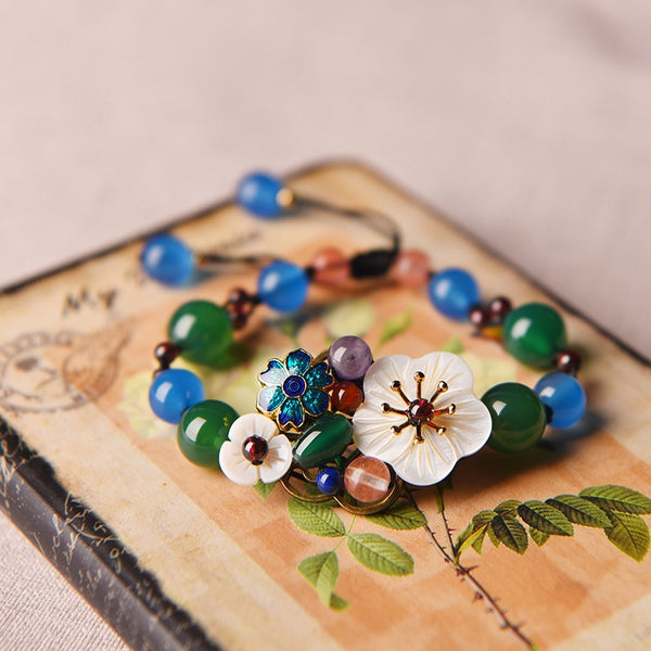 Heritage Series Flower Bracelet | Hand-Made with Genuine Cloisonne, Seashell & Natural Agate Bracelet