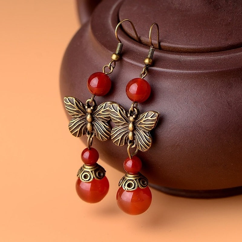 Heritage Series Butterfly Earrings | Hand-Made Copper & Natural Agate Earrings