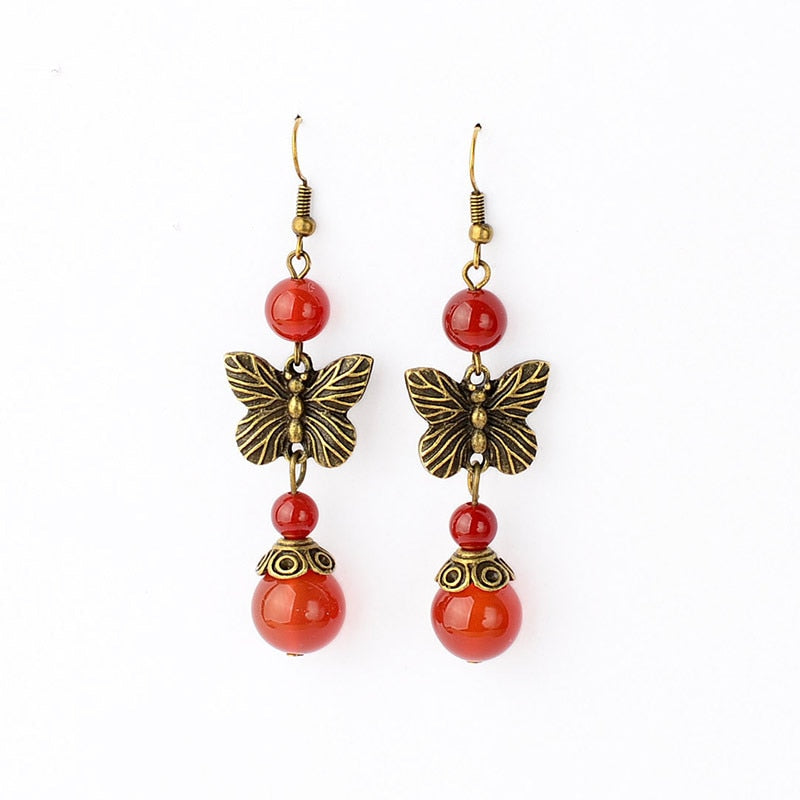 Heritage Series Butterfly Earrings | Hand-Made Copper & Natural Agate Earrings - Oh My Cuteness