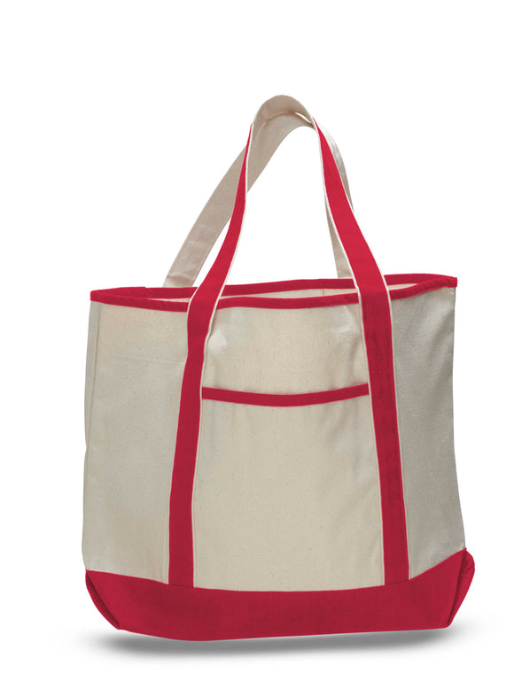 Red canvas tote bag, teachers tote bags, canvas boat bag, shopping tote bags,