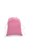 Pink cotton drawstring backpack, personalized backpacks, customizable backpacks, string backpacks, cheap totes