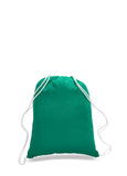 Kelly Green cotton drawstring backpack, personalized backpacks, customizable backpacks, string backpacks, cheap totes