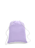 Lavender cotton drawstring backpack, personalized backpacks, customizable backpacks, string backpacks, cheap totes