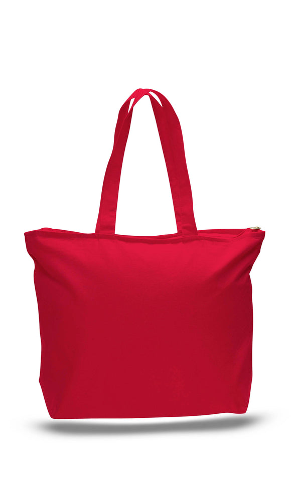 Red canvas zipper tote bag, tote bags with zipper, tote bags zipper, custom print bags, printed custom bags,