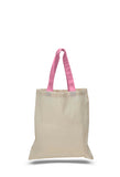 Natural tote bag with pink colored handles, totebags, totes bags, shopping bags, reusable shopping bags,