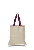 natural canvas tote bags, natural tote bags, cotton canvas tote bags, colored handled tote bags, custom tote bags,
