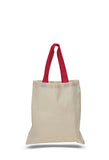 natural tote bags with red colored handles, cheap tote, bulk tote bags, shopping bags, custom totes,