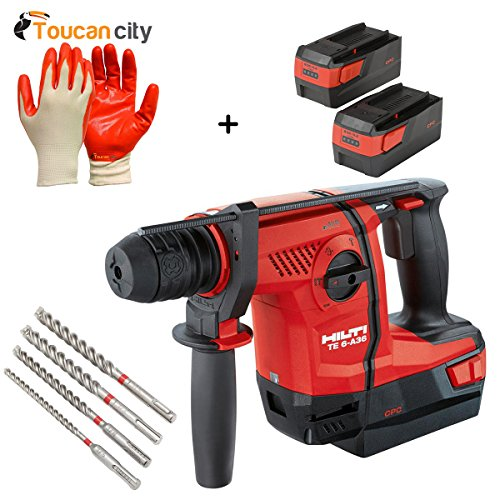 Toucan City Nitrile Dip Gloves(5-Pack) and Hilti 36-Voltt Lithium-Ion 1/2 in. SDS Plus Cordless Rotary Hammer TE 6-A36 Industrial PKG 3554451