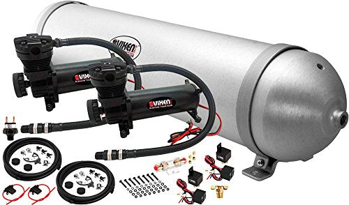 Vixen Air 5 Gallon (18 Liter) Aluminum Tank with Dual 200 PSI Black Compressor Onboard System/Kit for Suspension/Train Horn 12V VXO4850DB