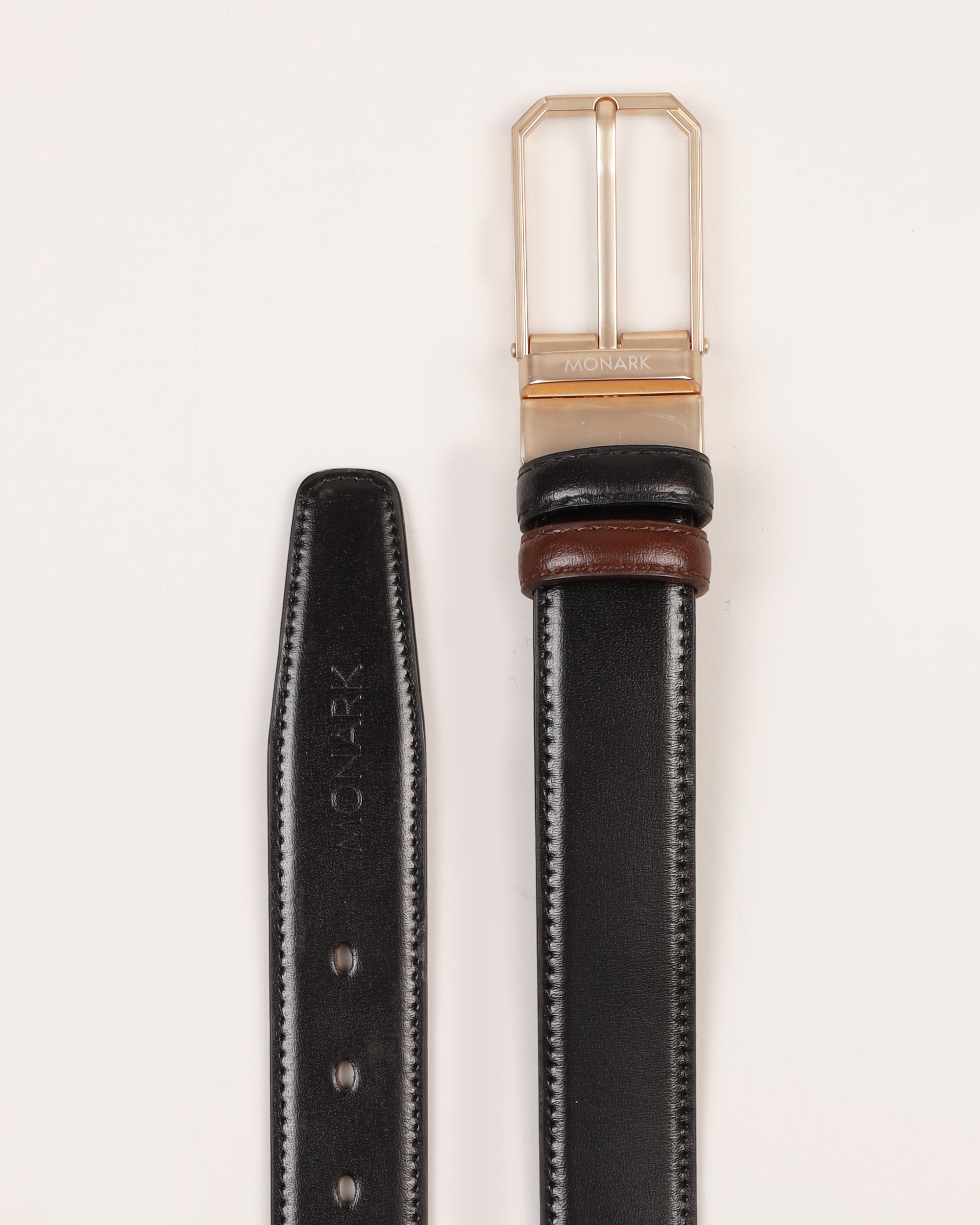 LEATHER BELT WITH REVERSEBLE BUCKLE