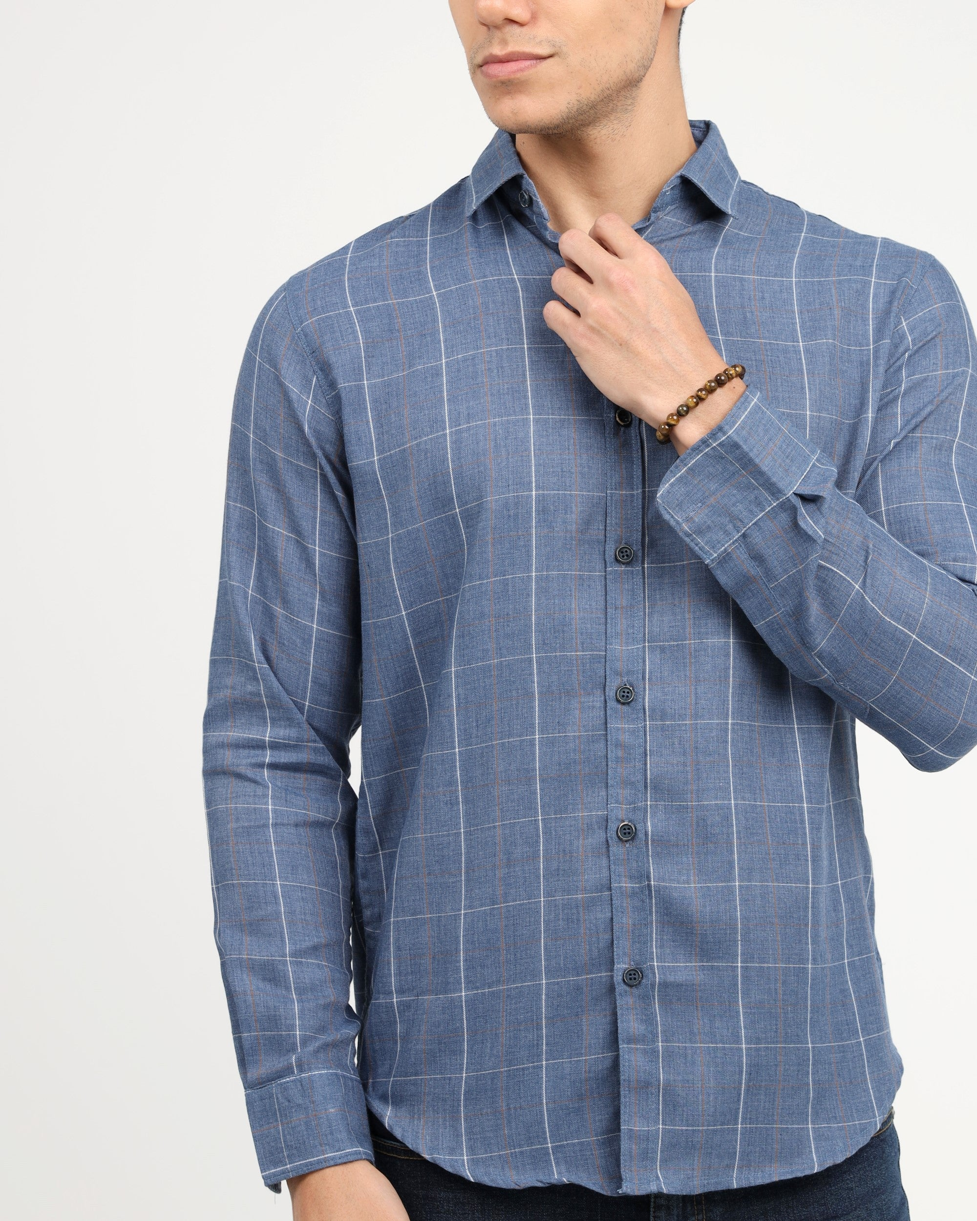 WINDOWPANE CASUAL WOVEN SHIRT