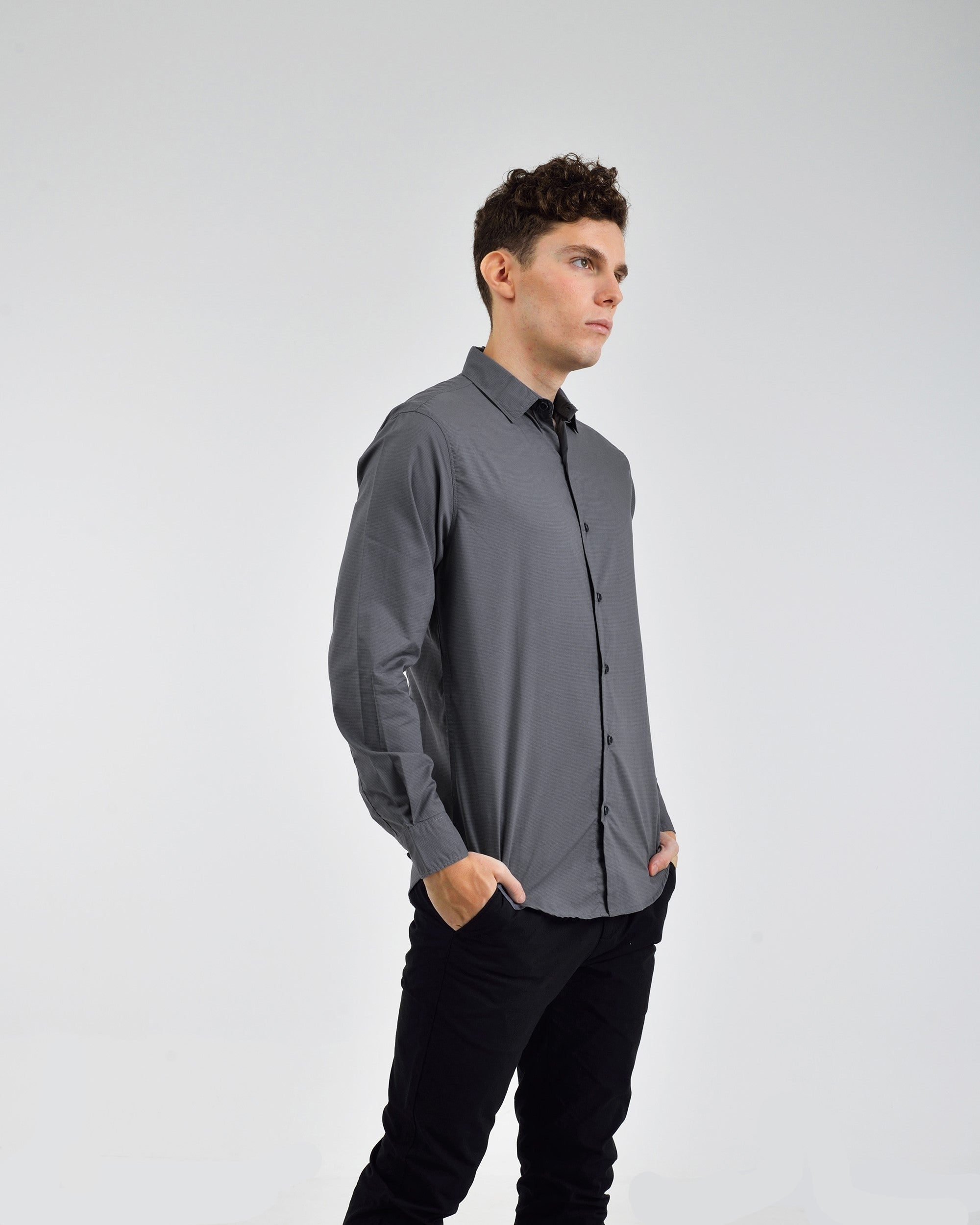 SELF TEXTURED SLIM FIT WOVEN SHIRT