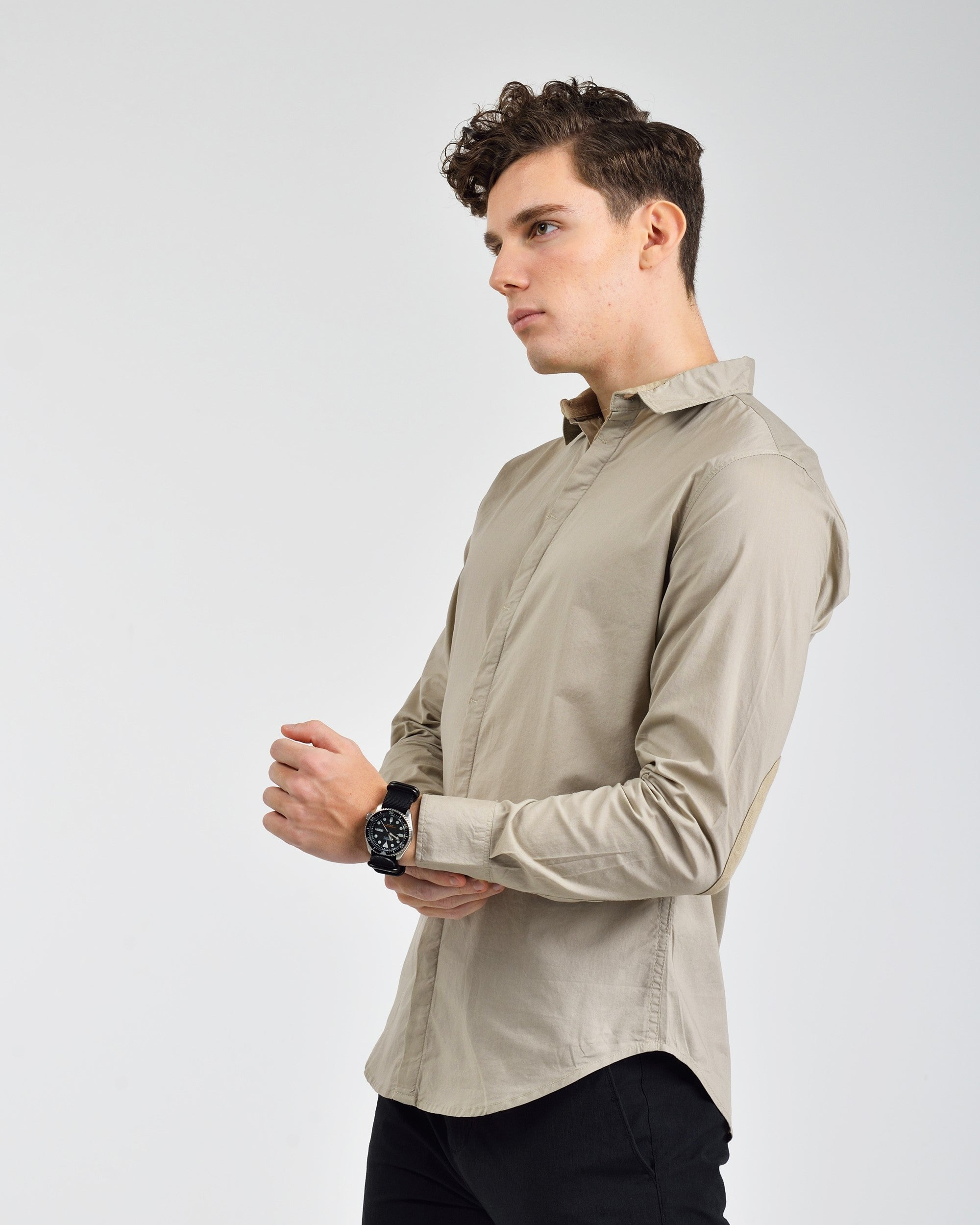 SOLID WOVEN SHIRT WITH HIDDEN PLACKET