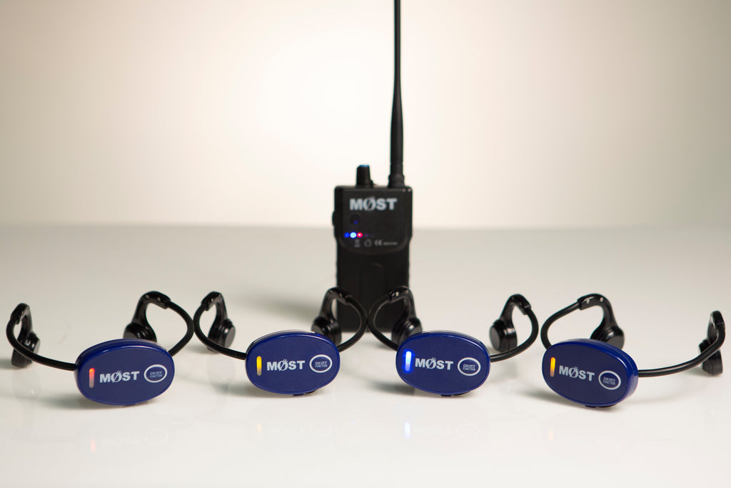 MySwimEars Essential Ears Bundle by MOSTswimtech. Four headsets and one walkie talkie.