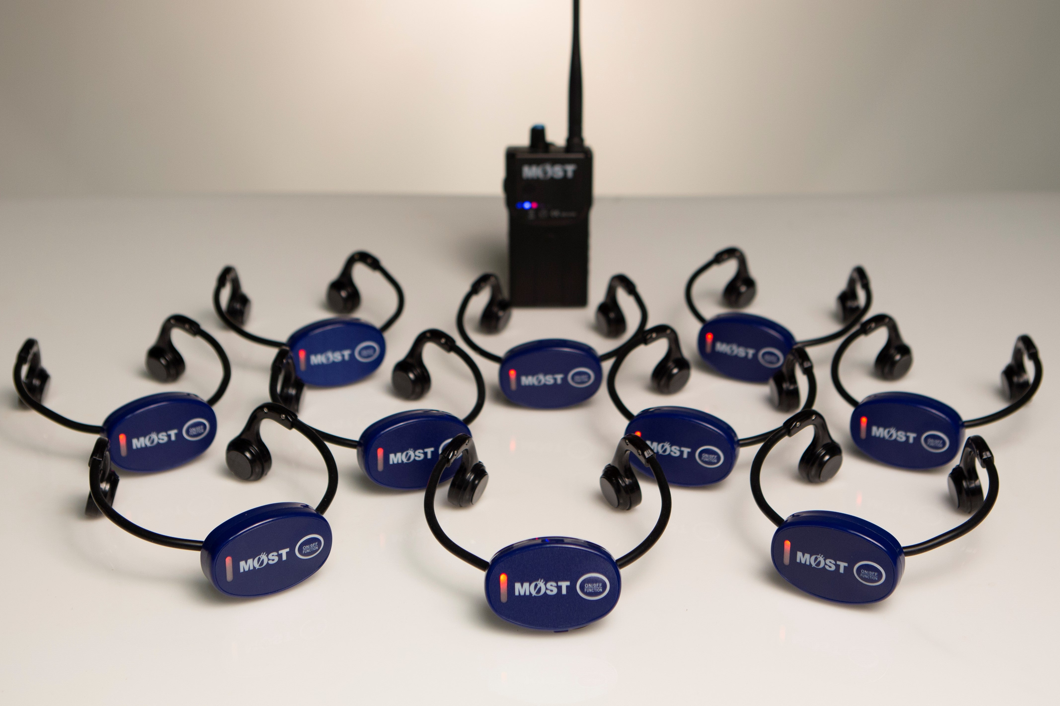 MySwimEars Lane Ears Bundle by MOSTswimtech. 10 headsets and one walkie talkie.
