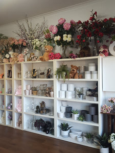 An inside view of Virginia Mary Florist showcasing some of  the items that we stock such as artificial flowers,ceramic containers,glassware,bears ,soft toys & jewelery.