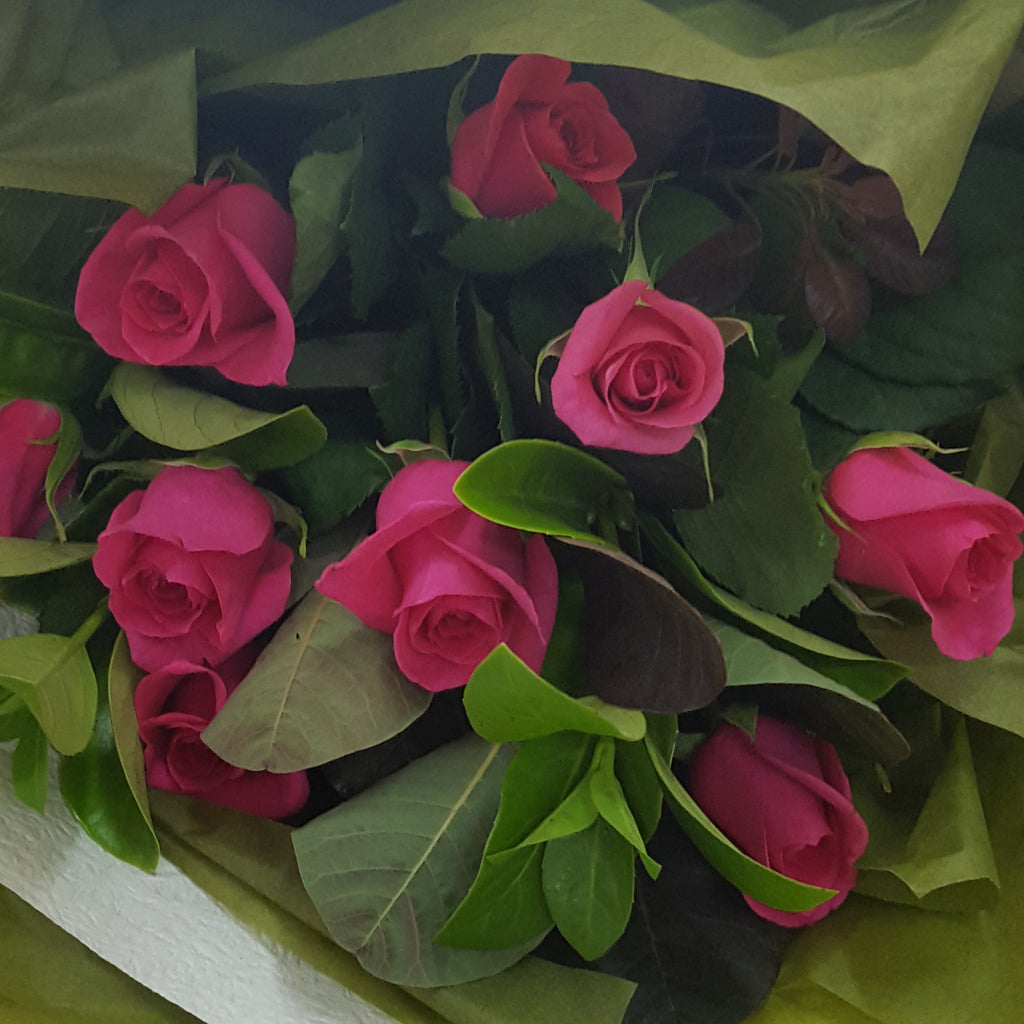 Bendigo Florist-Virginia Mary -Coloured Roses- in this image we pretty pink roses nestled amongst greenery