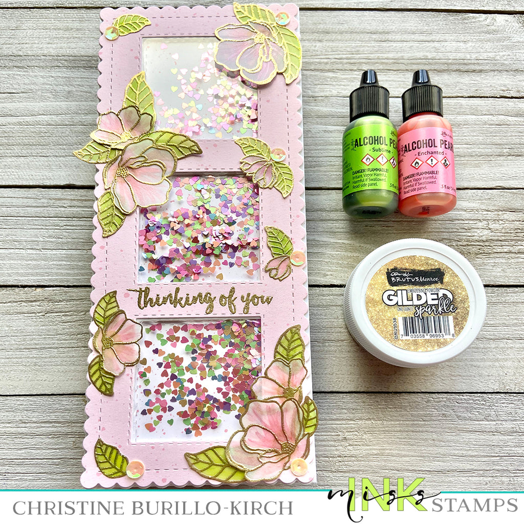 Floral Slimline card using Alcohol Inks