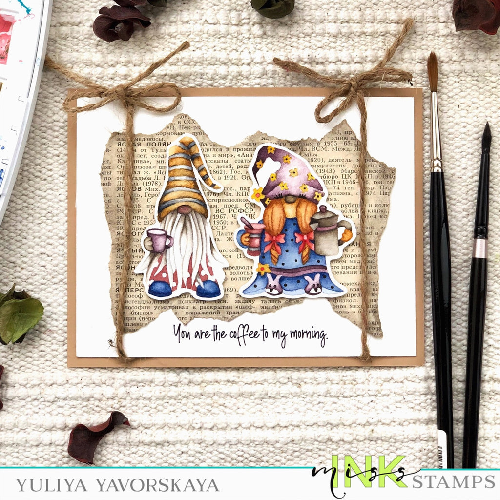 Coffee Gnomes card with Yuliya