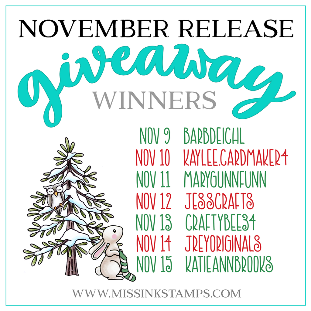 November Giveaway Winners