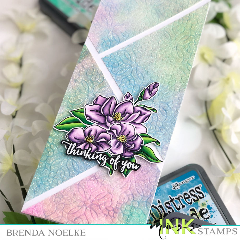 Step Up Your Cardmaking with Brenda - Using a Square Stencil on a Slimline Card