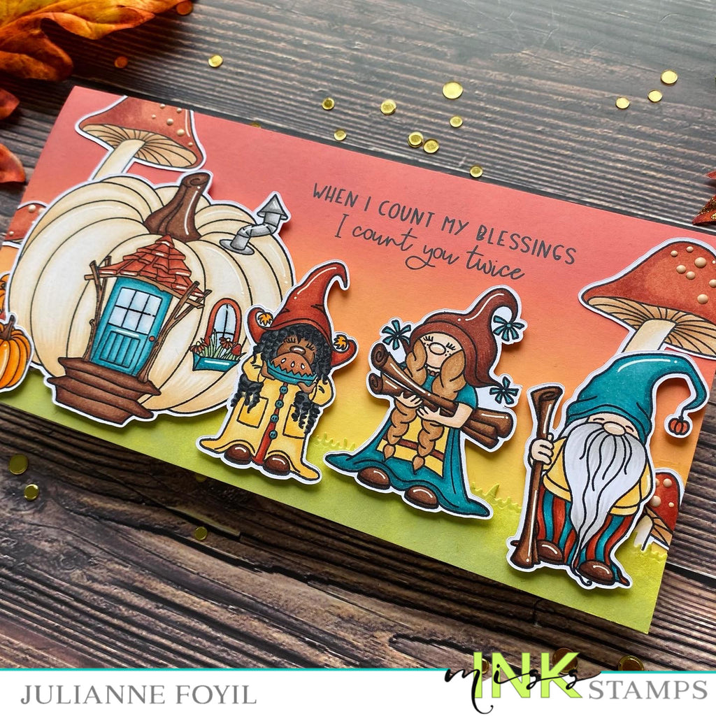 Thanksgiving Scene Slimline Card with Pumpkin Spice Gnomes
