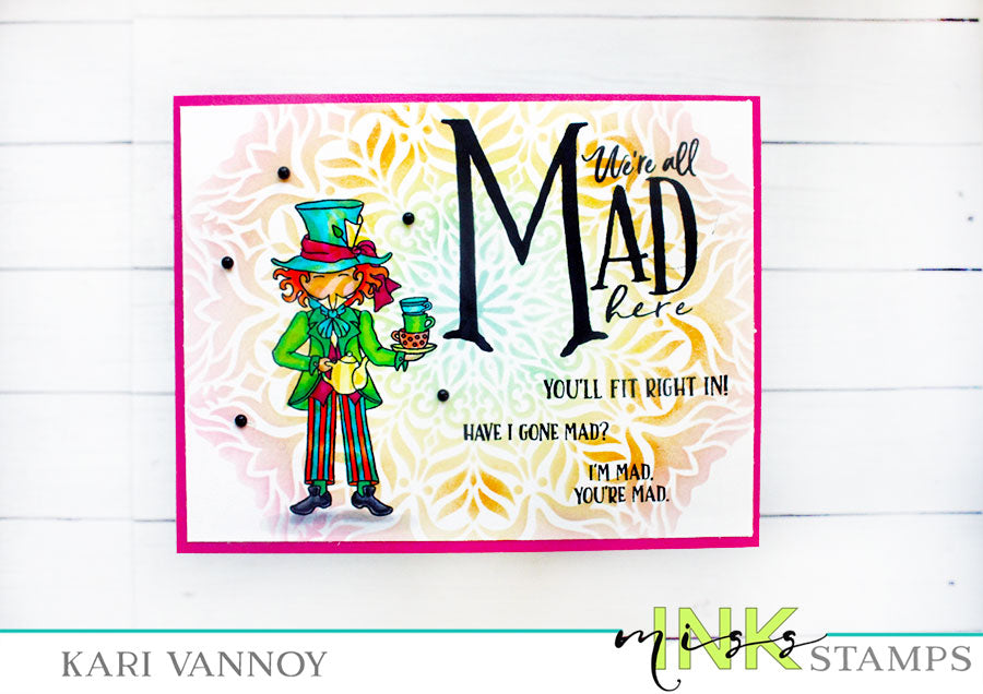 Stenciled Mad Hatter Card