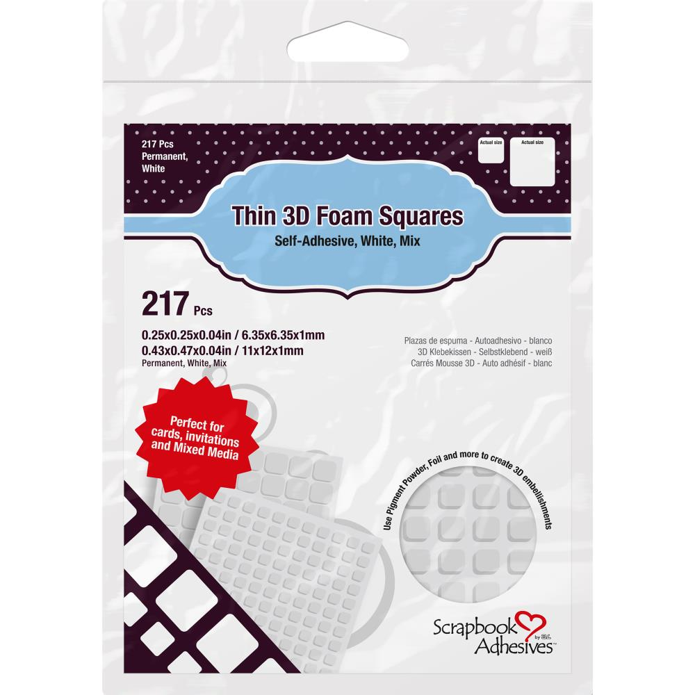 Scrapbook Adhesives Thin 3D Adhesive Foam Squares 217/Pkg--White