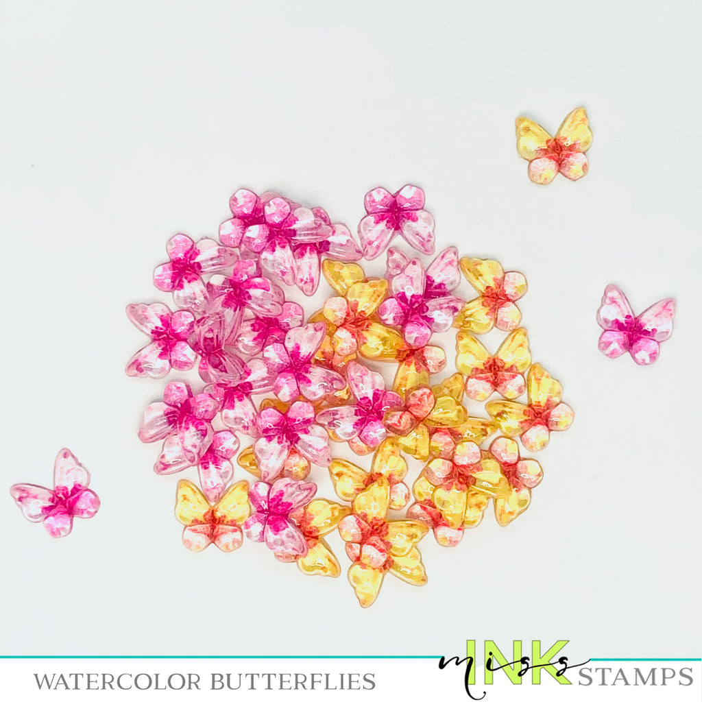 Watercolor Butterflies--Pink and Yellows