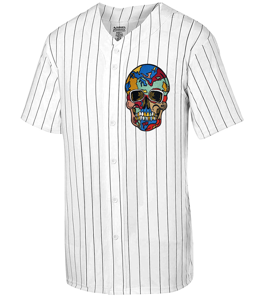 Cracked Skull White & Black Pin Stripe Jersey