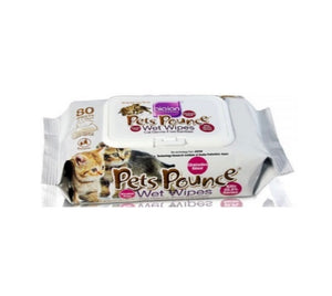 PETS POUNCE WET WIPES 80 SHEETS