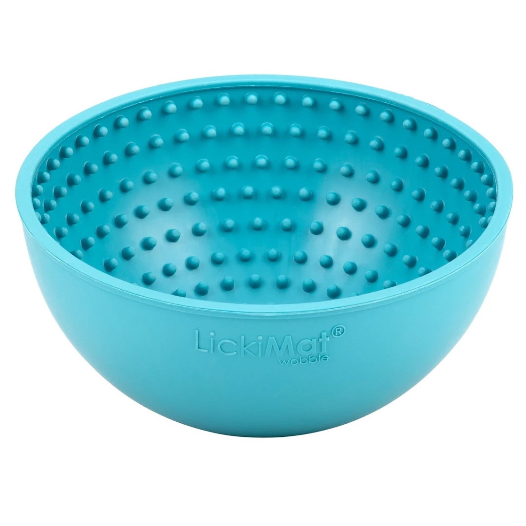 LICKIMAT® WOBBLE BOWL (ORANGE, GREEN, PURPLE AND TURQUOISE) THE BOWL THAT NEVER TOPPLES!