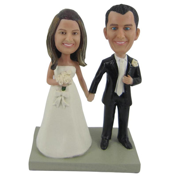 Groom and Bride Hand in Hand Wedding Custom Bobblehead