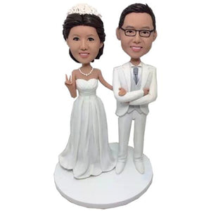 White Suit Wedding Custom Bobblehead