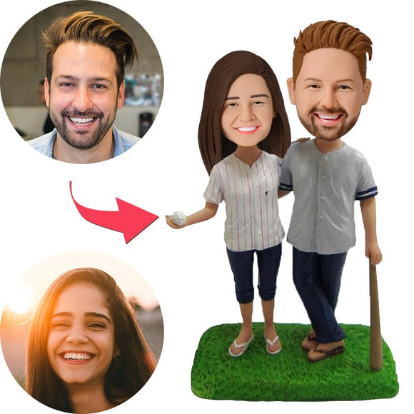 Baseball Couple Custom Bobblehead