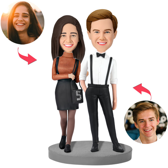 Modern Couple In Formal Wear Custom Bobblehead