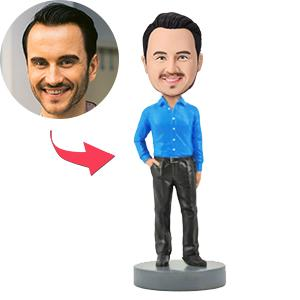 Slender Male Executive with Hand in Pocket Custom Bobblehead