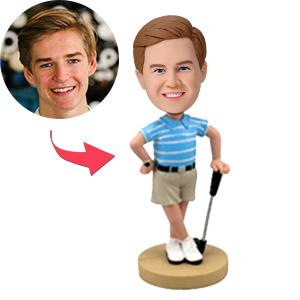 Golfer Posing With His Club Custom Bobblehead