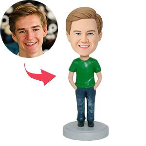 Male In Jeans With Hands In Pockets Custom Bobblehead
