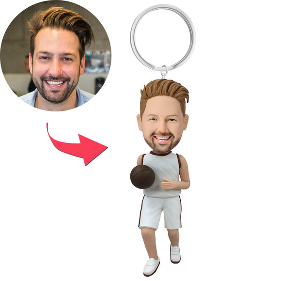 Basketball Player Dribbling With White Uniform Custom Bobblehead Key Chain