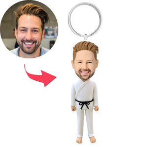 Male Martial Arts Custom Bobblehead Key Chain
