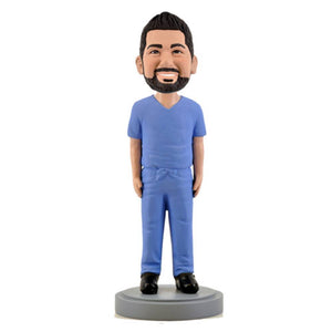 Male Medical Professional in Blue Scrubs Custom Bobblehead The Middle East