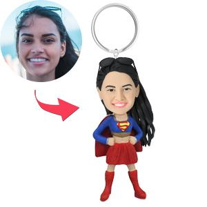 Superhero Woman Custom Bobblehead Key Chain