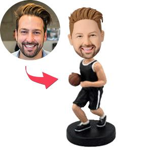Basketball Player Dribbling With Black Uniform Custom Bobblehead