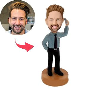 Businessman On Cellphone Custom Bobblehead