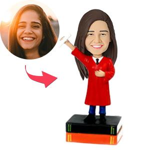Female Graduate In Red Gown Custom Bobblehead